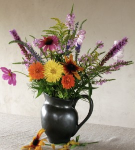 Bouquet of cosmos candy stripe, calendula pacific beauty mix, echinacea purpurea, physostegia, goldenrod, liatris and veronica goodness grows