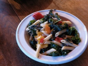 pasta with peppers, onions and chard