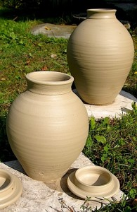 R Foye uncured, unglazed pots