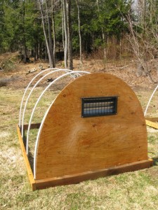 hoop house frame with vent installed