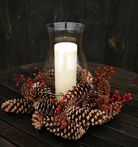 187 pine cone decorations The Gardeners Eden : Candle in Hurricane Glass Lantern with pine cones and crab apple sprigs from www.thegardenerseden.com size 480 x 512 jpeg 100kB