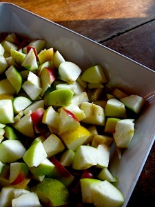 Heirloom Apples diced up for squares