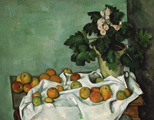 cezanne, still life with apples and a pot of primroses, circa 1890