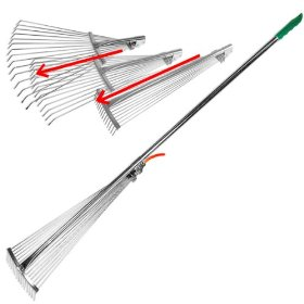 Here is a link to an,($9.99) Adjustable Steel Rake at Amazon.com