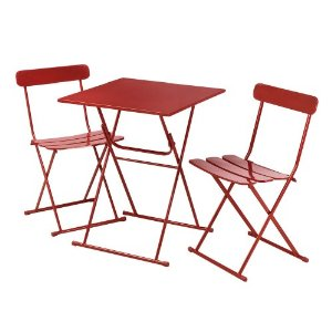 3 Piece Red Metal Bistro ...