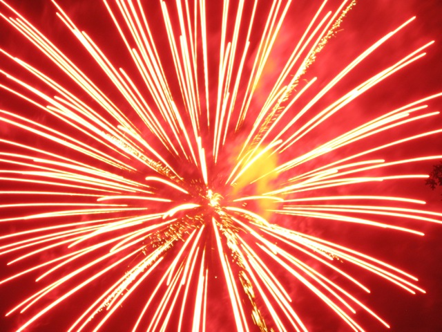 Red Explosion in Night Sky Red-orange Explosion by Night