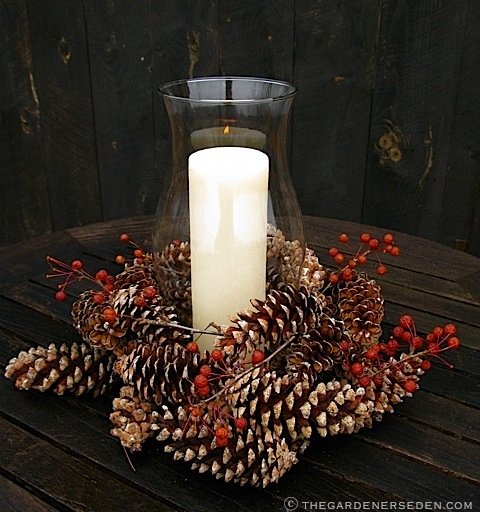 Gathered Pinecones and Crabapples Make a Festive and Elegant Centerpiece