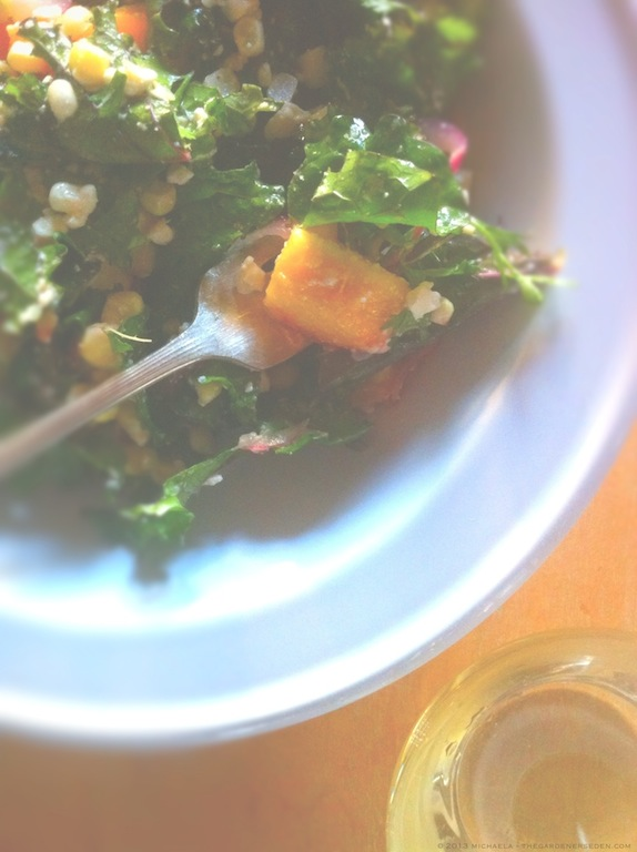 Peach, Corn and Kale Salad and Wine - michaela m harlow - thegardenerseden.com