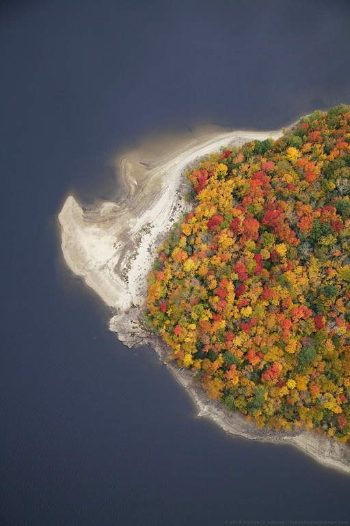 Aerial View of Autumn Above Lake Whitingham, Vermont - Michaela Medina Harlow - thegardenerseden.com