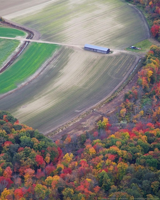 Autumn Color and Farm Fields, Above Deerfield, Massachusetts - michaela medina harlow - thegardenerseden.com