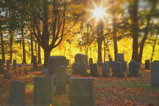 Sunset at Riverside Cemetery - michaela medina harlow - thegardenerseden.com