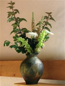 Ninebark,(Physocarpus) 'Diablo', False Indigo, (Baptisia foliage) Foxglove, (Digitalis davisiana),Queen Anne's Lace'(Anthriscus sylvestris Bells of Ireland, (Moluccella laevis)