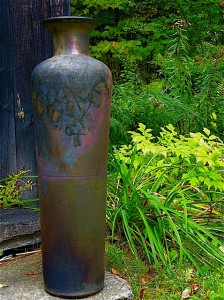 R Foye urn, metallic glazed