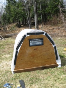 hoop house with vent:plastic installed
