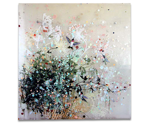 "Cara Enteles, The Last Days of Summer, oil on acrylic sheet 36"" x 36"""