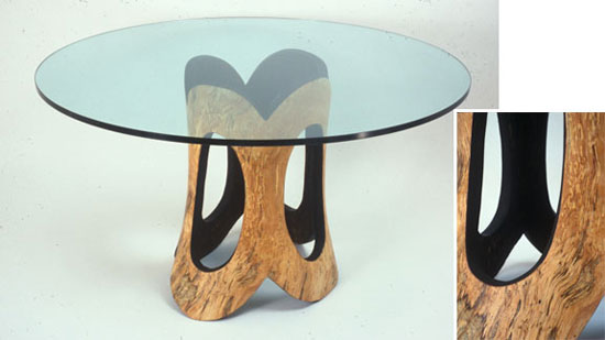 "D Holzapfel, Miller Dining Table 2000, 29"" x 54"" spalted yellow birch and glass"