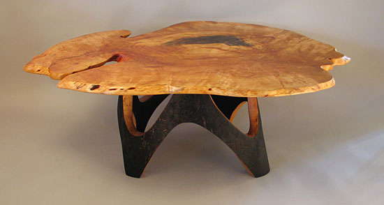 D Holzapfel Newlyweds Table 18 36 37, spalted yellow birch and scorched oak