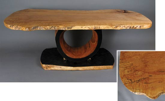 "D Holzapfel Prohibited Where Void, 18"" x 52"" x 24"", spalted blister maple, red maple, yellow birch"