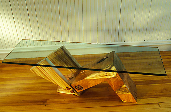 "D Holzapfel Triangles,   18"" x 54"" x 20"", spalted cherry burl, spalted yellow birch, glass"