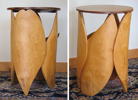 "D Holzapfel Tutuila 23"" x 15"" walnut, spalted yellow birch base abstracted leaf form, samoan leaves"