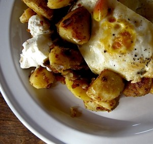 Potato Apple Fry with Egg Over-Easy