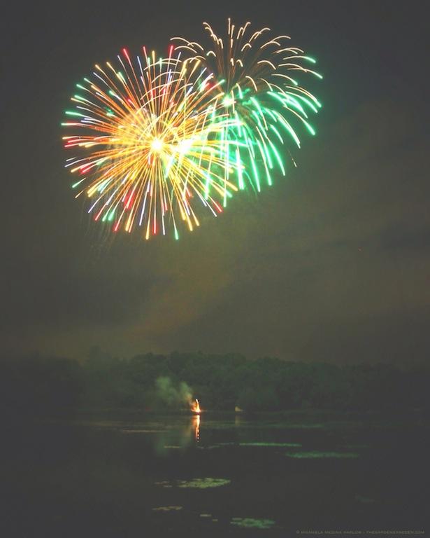 Fireworks on Barton Cove - michaela medina harlow - thegardenerseden.com