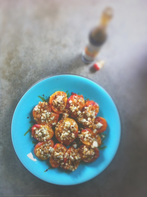 Grilled and Stuffed Peaches on Platter with Balsamic Glaze - michaela medina harlow - thegardenerseden.com