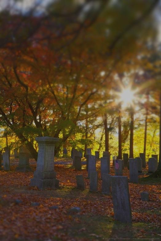 Last Light - Riverside Cemetery, Sunderland, MA. October, 2013 - michaela medina harlow - thegardenerseden.com