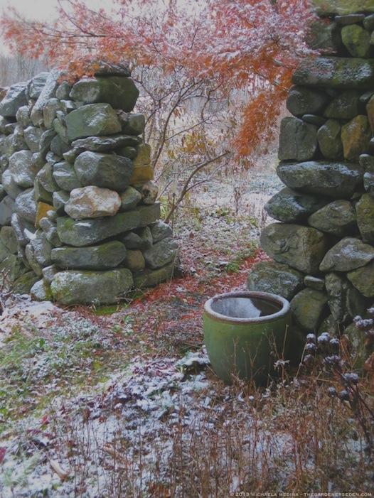 Secret Garden, First Snowfall - michaela medina harlow - thegardenerseden.com